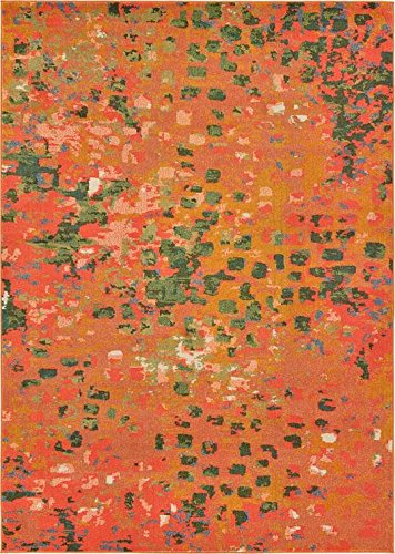 Modern Abstract Rugs Orange 6' 11 x 10' FT (216cm x 305cm) Barcelona Contemporary Area Rug [Bedroom] [Livingroom] [Sitting-room] [Rugs] Carpet