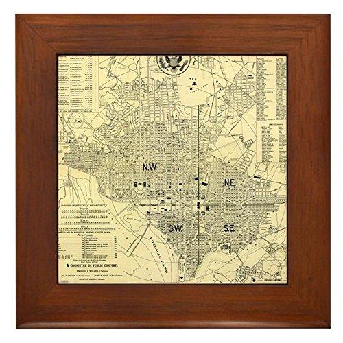 CafePress - Vintage Map of Washington D.C. (1909) - Framed Tile, Decorative Tile Wall Hanging