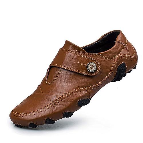 Zapatos para Hombres Cuero Primavera/Verano / Otoño Comfort Mocasines y Slip-Ons Zapatos para Caminar Suela Ligera Slingback Zapatos Negro/Marrón (YAN): ...