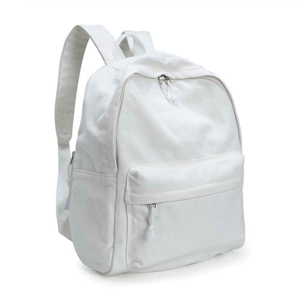 Zicac Unisex DIY Canvas Backpack Students Daypack Satchel Bookbag(White)