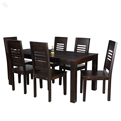 Charmant Royal Oak Jade 6 Seater Dining Table Set (Honey Finish, Brown)