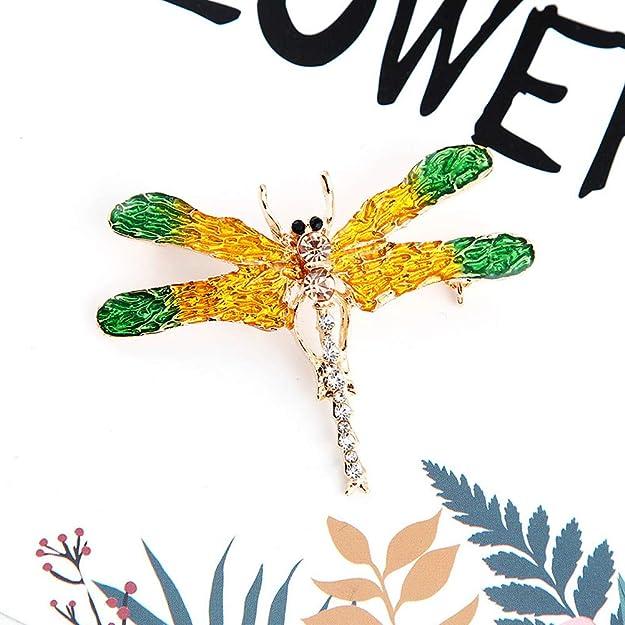 Ape Farfalla Libellula Giallo Anatra Spilla a Molla per Abiti Colletto Abito Sciarpa Decorazione Set di 4 Animali a Tema Cristallo smaltato Strass Spille Pin
