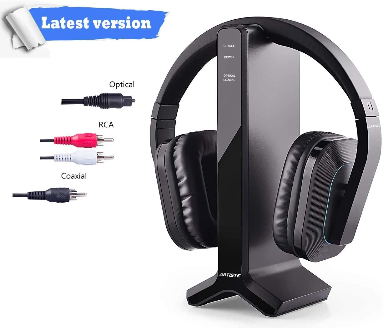 Wireless Headphones for Smart TV Watching with Transmitter Charging Dock, Digital Optical System, High Volume Headset Ideal for Seniors Hearing Impaired, 100 Foot Wireless Range No Audio Delay