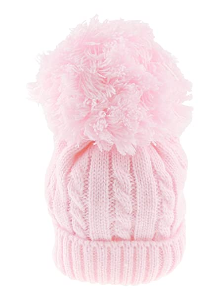 817c7880398 Glamour Girlz Super Soft Baby Girls Boys Warm Winter Chunky Cable Knit Pom  Bobble Hat (0-12 Months