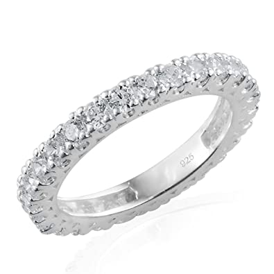 J FRANCIS Women 925 Sterling Silver Made with Swarovski® Zirconia Solitaire With Accents Ring Size T xm1UWXYiW