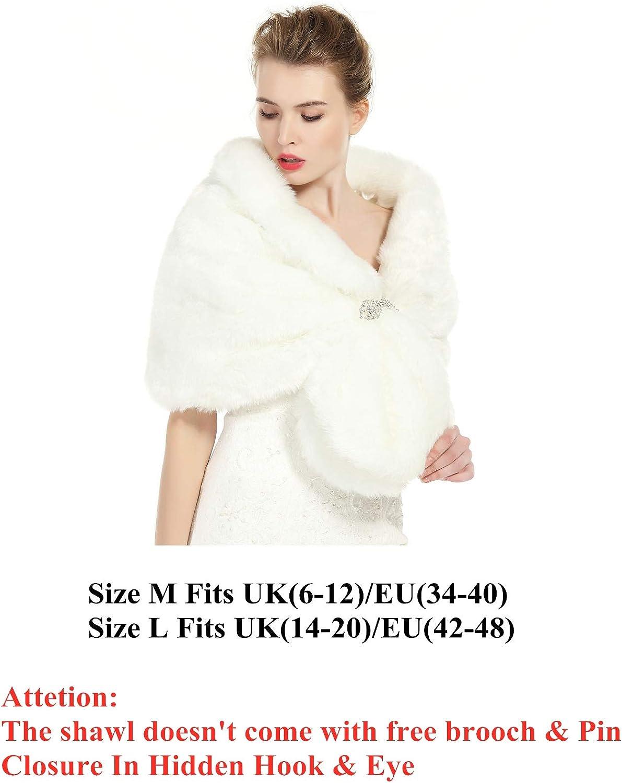 BEAUTELICATE Donna Pelliccia Faux Scialle Sciarpa Wrap Cape Perfetto Per Matrimonio Partito Spettacolo Con Spilla Libera