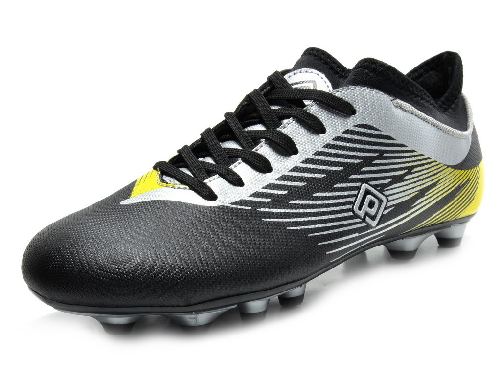 DREAM PAIRS 160861-K Boy's Athletic Lace up Outdoor Light Weight Running Soccer Sport Cleats Shoes(Toddler/Little Kid/Big Kid) Black SILV Yellow Size 4