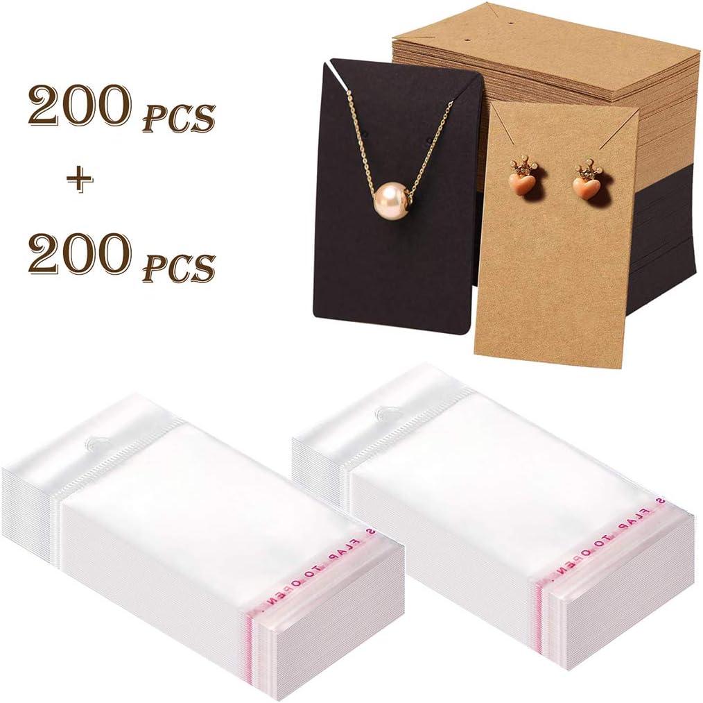 Finelnno 200 Pack Carta Kraft per Orecchini con 200 Sacchetti Autosigillanti per Orecchini Collane e Gioielli Earring Cards Display Ear Stud Display Cards