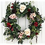Rose-Hydrangea-Silk-Door-Wreath-22-Inch-Handcrafted-on-a-Grapevine-Wreath-Base-Display-Outdoors-in-Spring-Summer-and-Late-Winter
