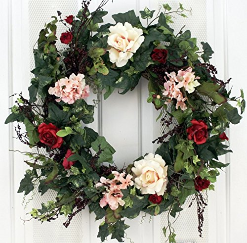 (Rose Hydrangea Silk Door Wreath 22 Inch -Handcrafted on a Grapevine Wreath Base- Display Outdoors in Spring, Summer and Late Winter.)