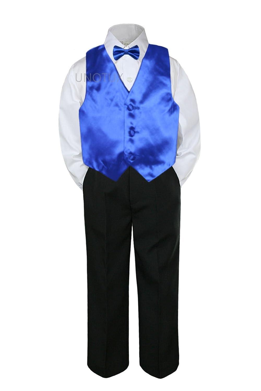 4pc Formal Baby Teen Boy Silver Vest Necktie Set Black Pants Suit S-14 3T