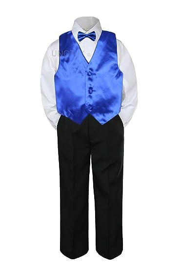 a1ccf3f5d Amazon.com  4pc Formal Baby Teen Boy Royal Blue Vest Bow Tie Black ...