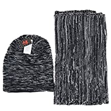 FORBUSITE Unisex Knitted Long Beanie and Scarf Winter Set Js-01