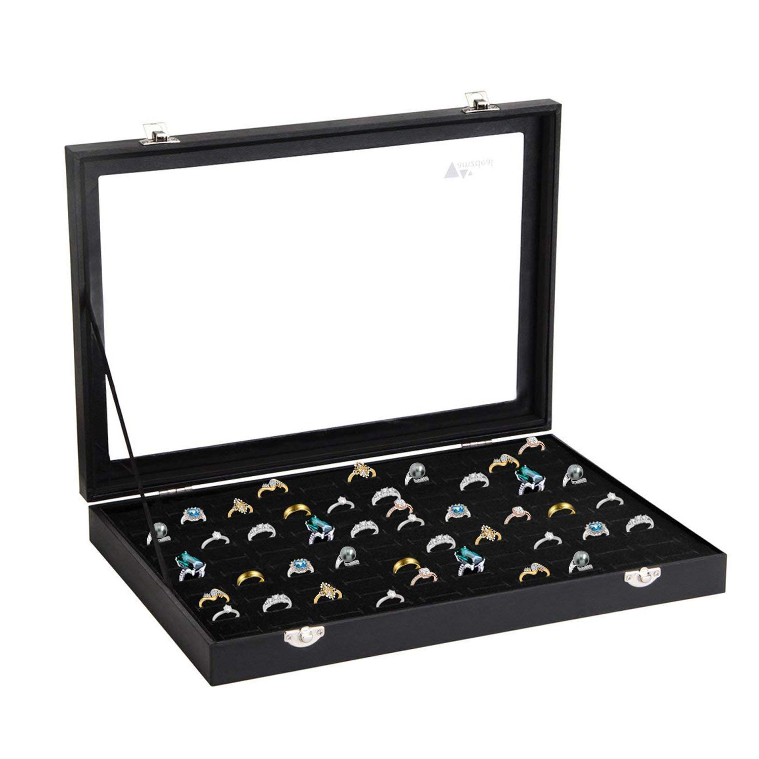 amzdeal Ring Box, Ring Case, 100 Slots Jewelry Ring Display Case with Glass Top, Ring Organizer, Ring Holder Jewelry Storage Tray, Ideal Gift for Women Men, Black
