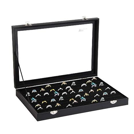 Amazon.com: amzdeal – Ring caja 100 Slot joyería Caso de ...