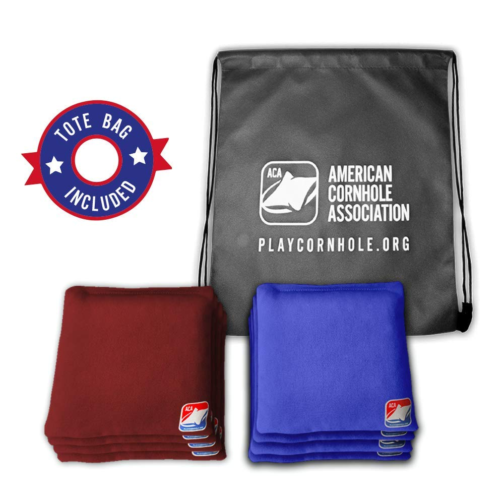 Official Cornhole Bags from The American Cornhole Association - 6'' Double-Stitched Corn-Filled Bean Bags for Corn Hole Outdoor Game - Regulation Size - Burgundy & Royal Blue