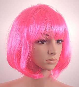 Fashionable Pretty Short Pink Bob Babe Wig Girls Ladies 20s 60s 70s 80s 90s Fancy Dress Party Cosplay Hairstyle by BFD