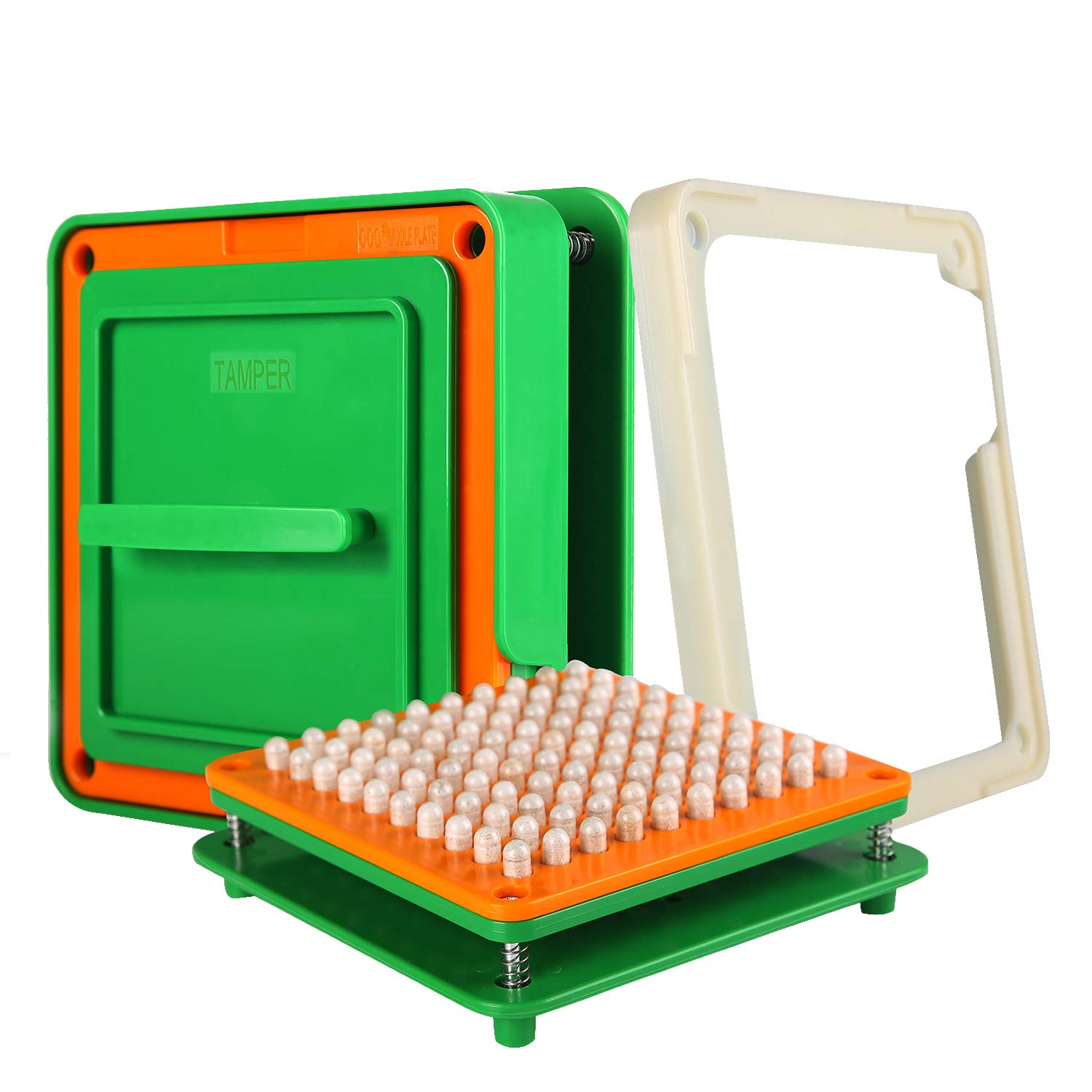 100 Hole (000#) Capsule Holder with Tamper for Size 000 Empty Capsules Holding Tray Pill Dispensers & Reminders -Green by wananfu (Image #1)