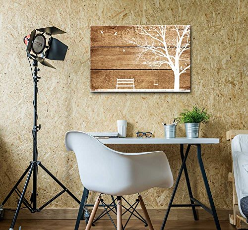Artistic Abstract Tree and Birds on Rustic Wood Background