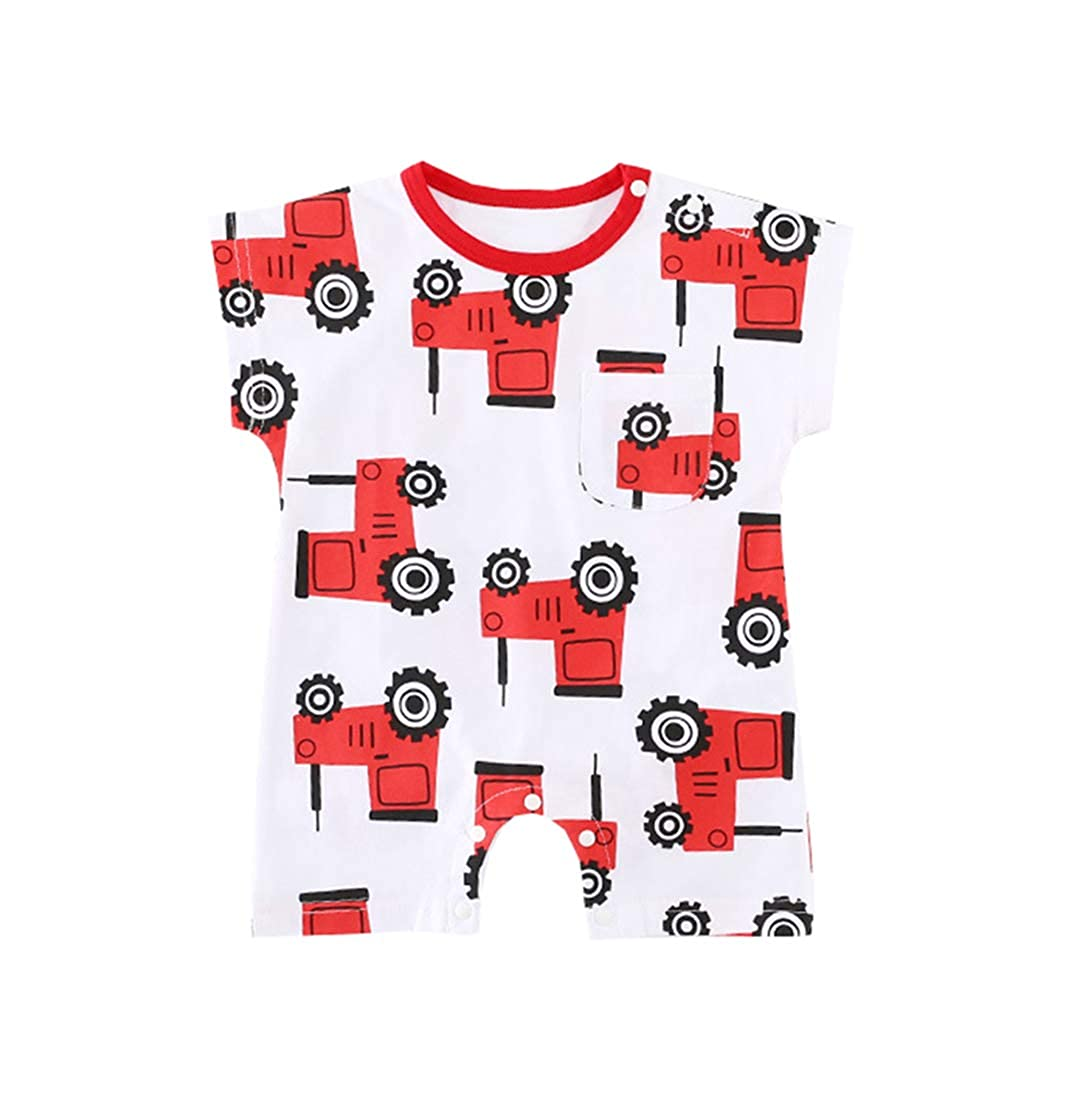 Mornyray Infant Baby Boys Graphic Romper Button-Down Short Sleeve Outfit