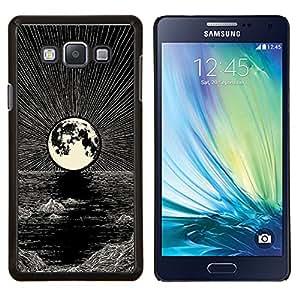 YiPhone /// Prima de resorte delgada de la cubierta del caso de Shell Armor - Luna Art Pen Noche Negro océano blanco - Samsung Galaxy A7 A7000