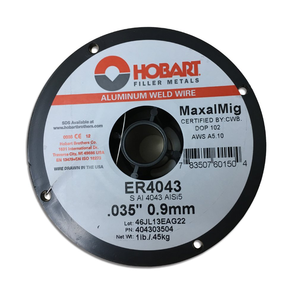 Hobart ER 4043 ALUMINUM MIG Welding Wire .035 X 1 LB SPOOL GENERAL PURPOSE