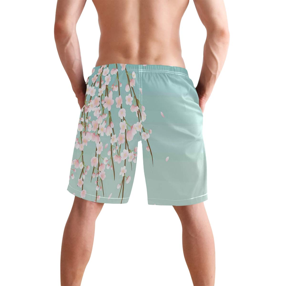 COVASA Mens Summer ShortsFreshly Blooming Cherry Blossom Branches with Flower