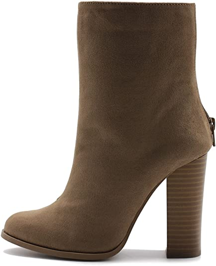 Kauneus Womens Faux Suede Pointed Toe High-Heeled Zipper Ankle Boot Creative Mirror Block Chunky Heel Fashion Short Boots