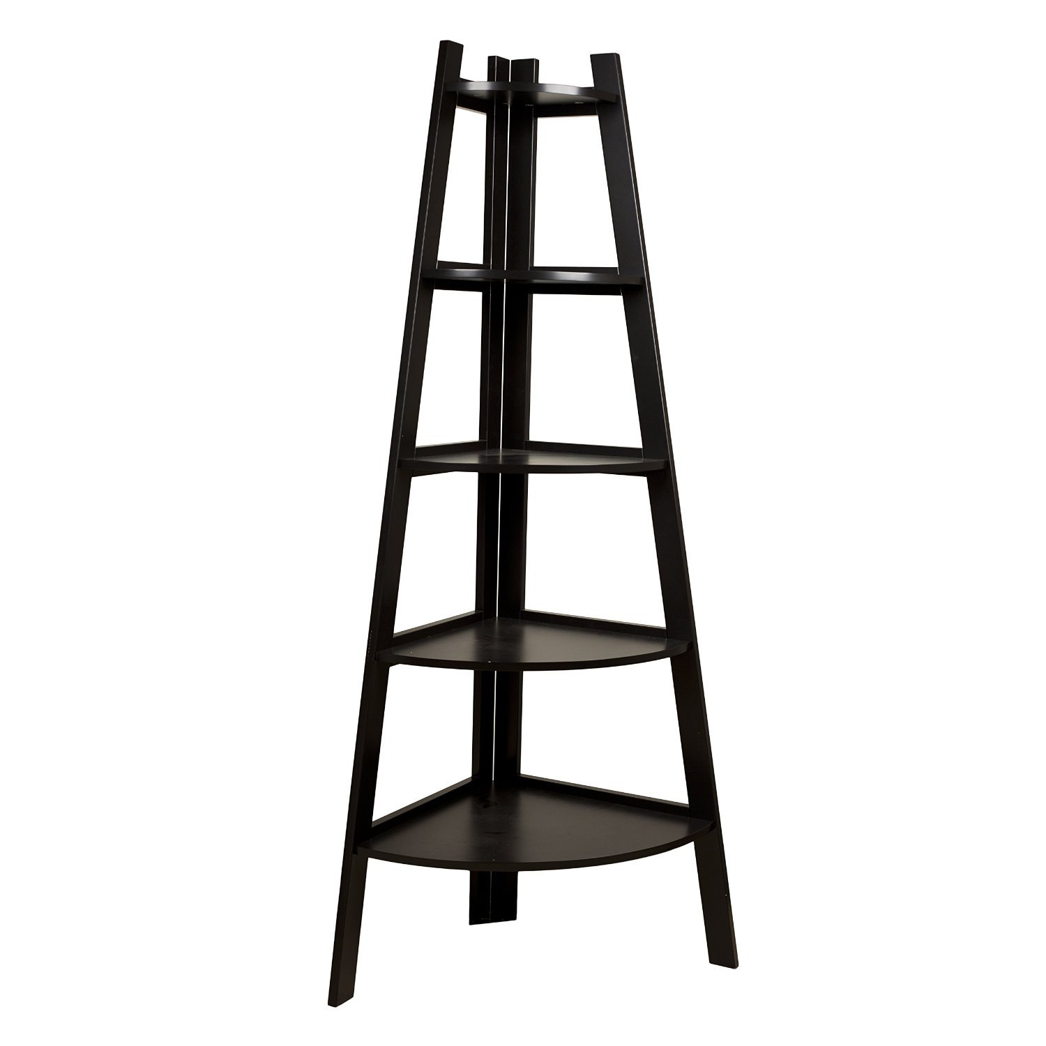 Five Tier Corner Ladder Display Bookshelf - Black by SQUARE FURNITURE