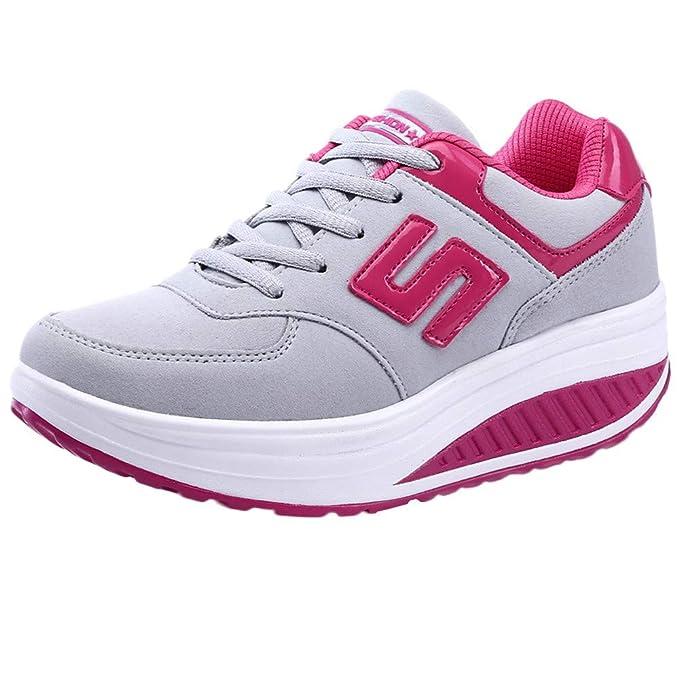 POLP Calzado Zapatos Mujer Cuña Deportivos Zapatillas Running para Mujer  Aire Libre y Deporte Transpirables Casual Zapatos Gimnasio Correr Sneakers  Marron ... fccf9f75d79a