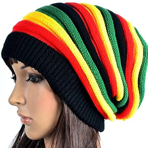 (Women Jamaica Beanie Rasta Hat Knit Baggy Skull Woolly Ski)