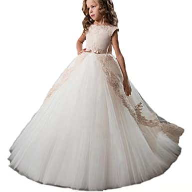 fc850b4cb5 Ourlove Dress Kids Evening Gown First Communion Dresses for Girls with Bow  Belt Lace Appliques Pageant