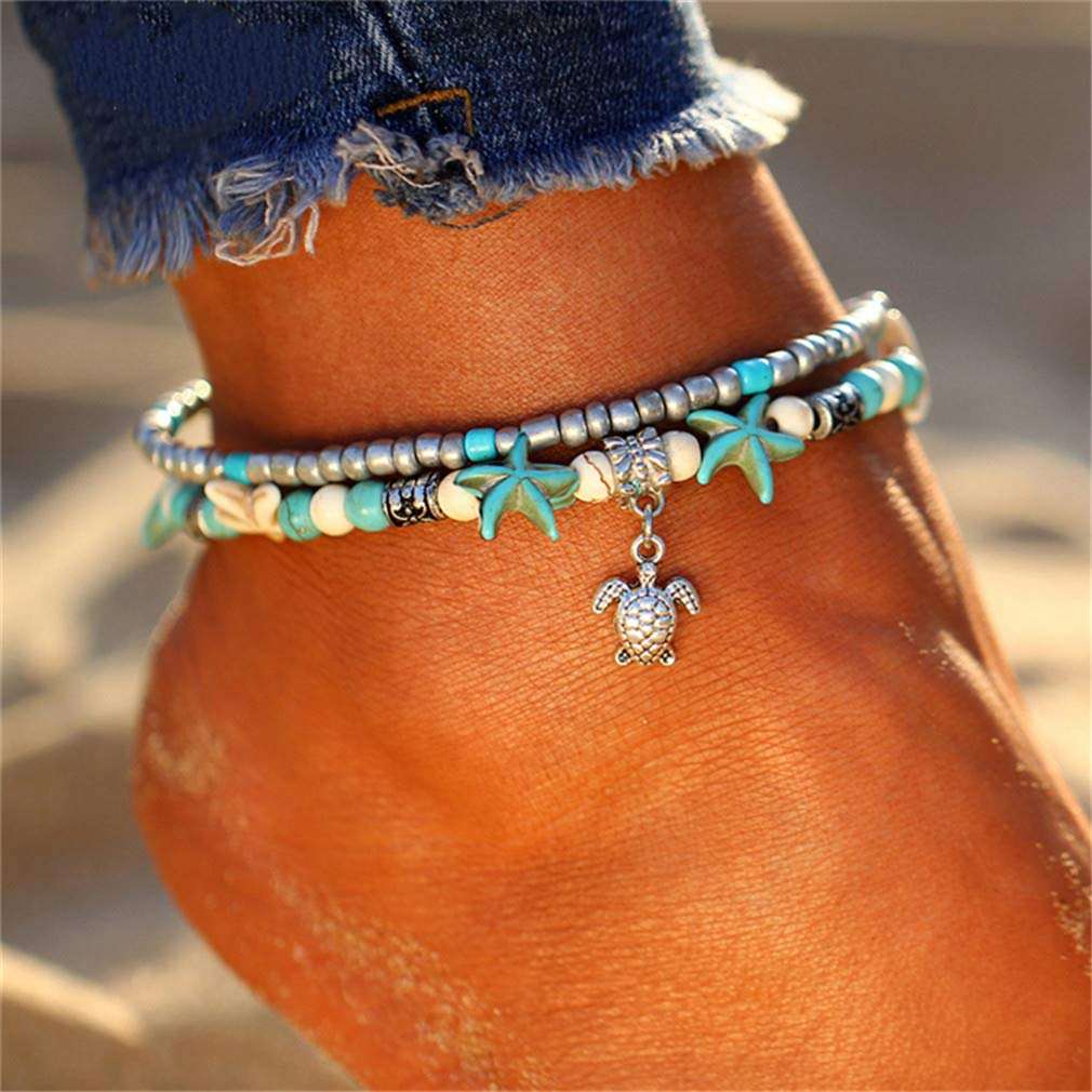Dolland Multi-Layered Starfish Turtle Pearl Foot Jewelry Anklet Crystal Beads Adjustable Beach Jewelry