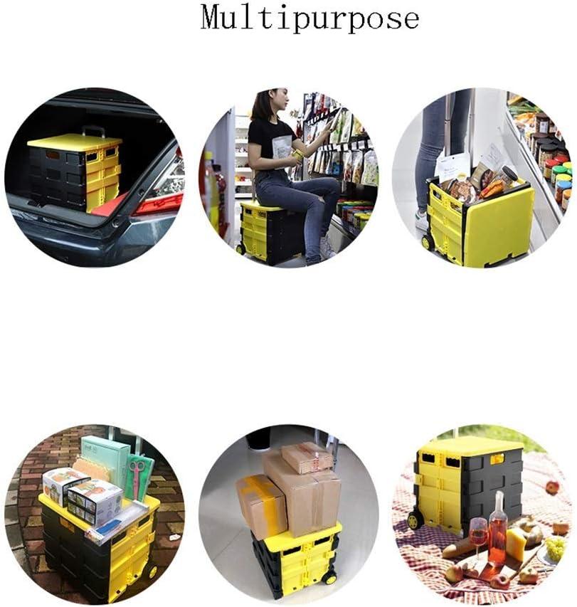 ZYC-WF Shopping Carts Für Lebensmittel Mit Rollen Bewegliche Falte Lagerung Haushalt Trolley Supermarkt Warenkorb Licht Trolley-Boot/A A