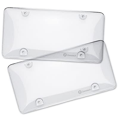 Zone Tech Clear License Plate Cover Frame Shields - 2-Pack Novelty/License Plate Clear Bubble Shields: Automotive