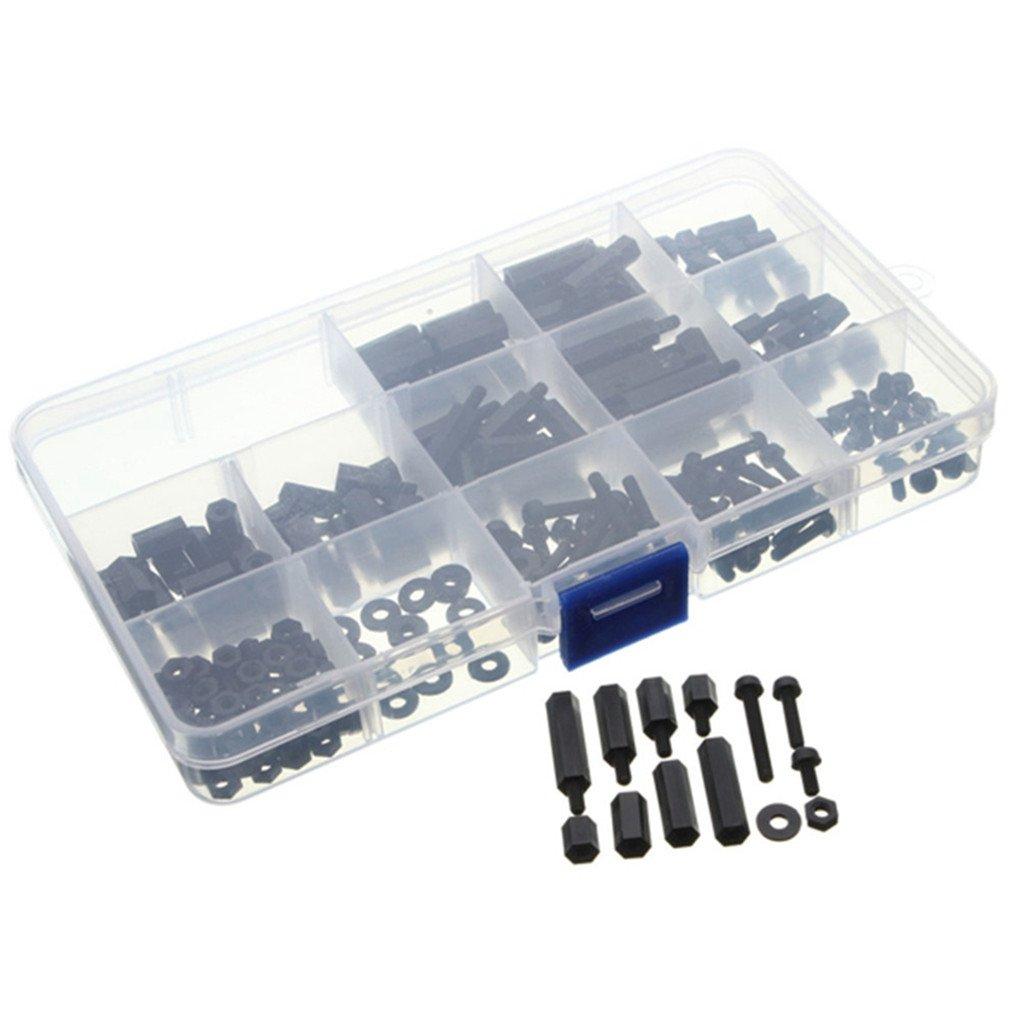 UNHO 260 Piezas M3 Espaciadores Hexagonales Kit de Tornillos y Tuercas de Nylon Negro Accesorios para PCB Drones Bricolaje Con Caja de Plá stico Mastertrade