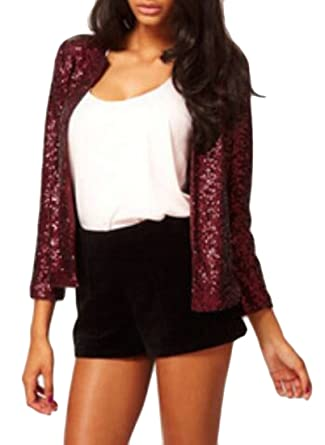 6aa42ab7ba697 EKU Women Slim Fit Stylish Plus-Size Sequin Glitter Splice Jackets Suit  Blazer Wine Red