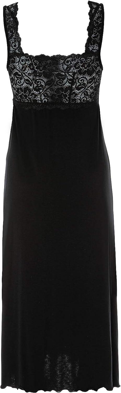 Tramonte Camicia da Notte per Donna Lunga Estiva Disponibile Solo Colore Nero Spalla Larga Abitino Lungo in Tessuto Viscosa