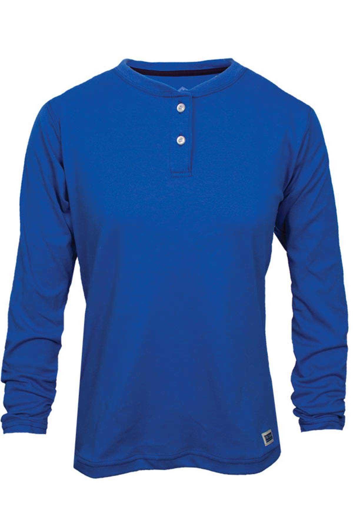 National Safety Apparel C54MSBSLSWMD Women's FR Classic Cotton Long Sleeve Henley, 100% FR Cotton, Medium, Royal Blue