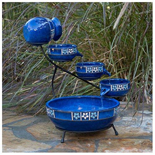 Unbranded* Solar Ceramic Cobalt Blue 4 Tier Mexicana Style Cascade Fountain Flower (Ceramic Solar Cascade)