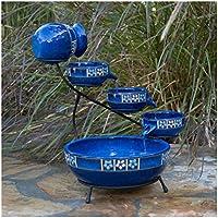 Belham Living Solar Ceramic Cascade Fountain with Flower Trim by Smart Solar (Blue)