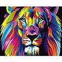 油絵 数字キット 手塗り デジタル油絵 DIY絵 数字油絵 数字キットによる 子供の塗り絵 家の装飾のギフト カラフルなライオンの頭 40*50CM