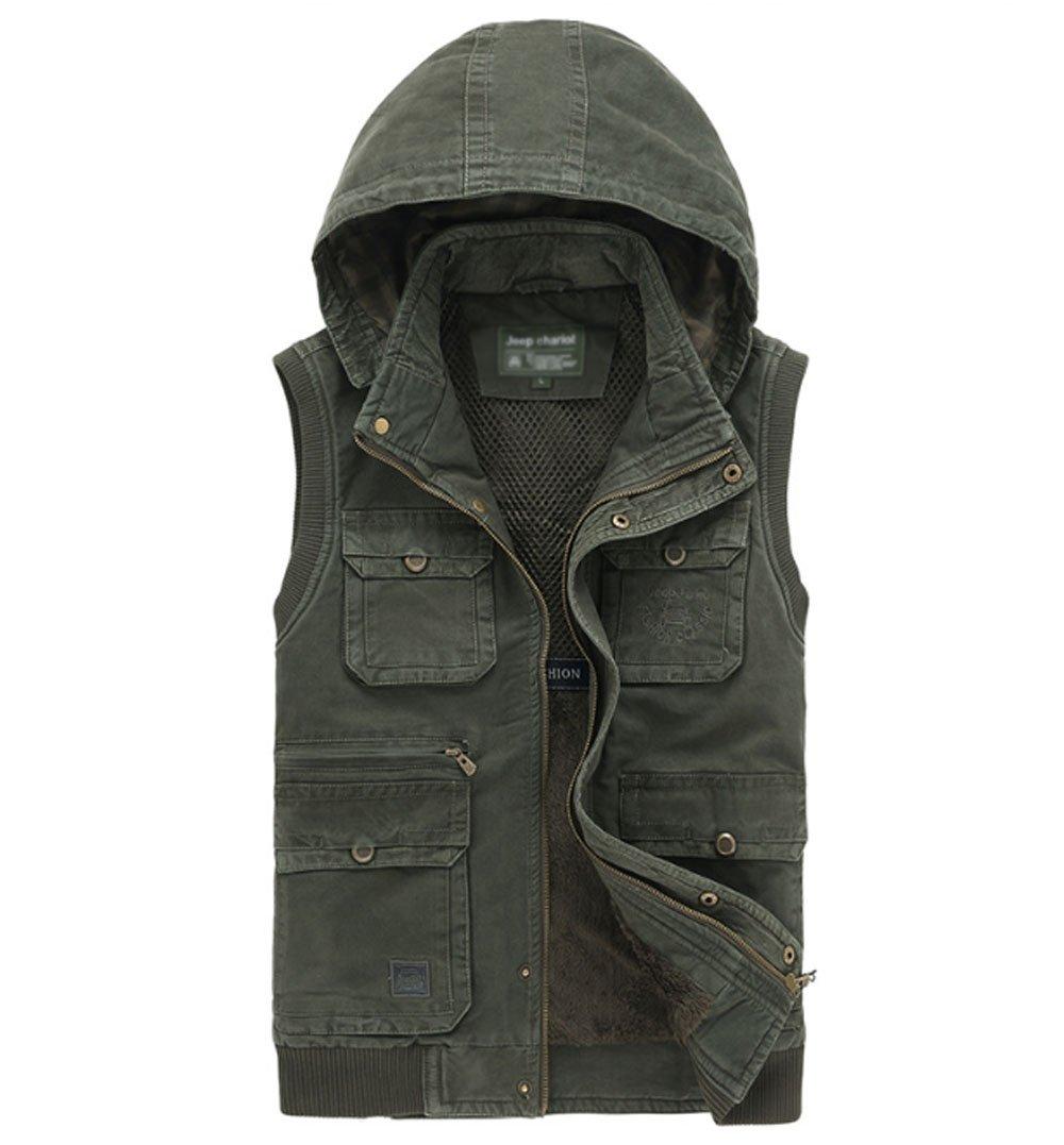 HAOYUXIANG Outdoor-Weste Mehrere Taschen mit Kapuze Baumwolle Herrenmode Verdickt Warme Freizeitjacke (Farbe : Khaki, Größe : L) Größe : L) LMHAOJIEGONGYINGSHANG