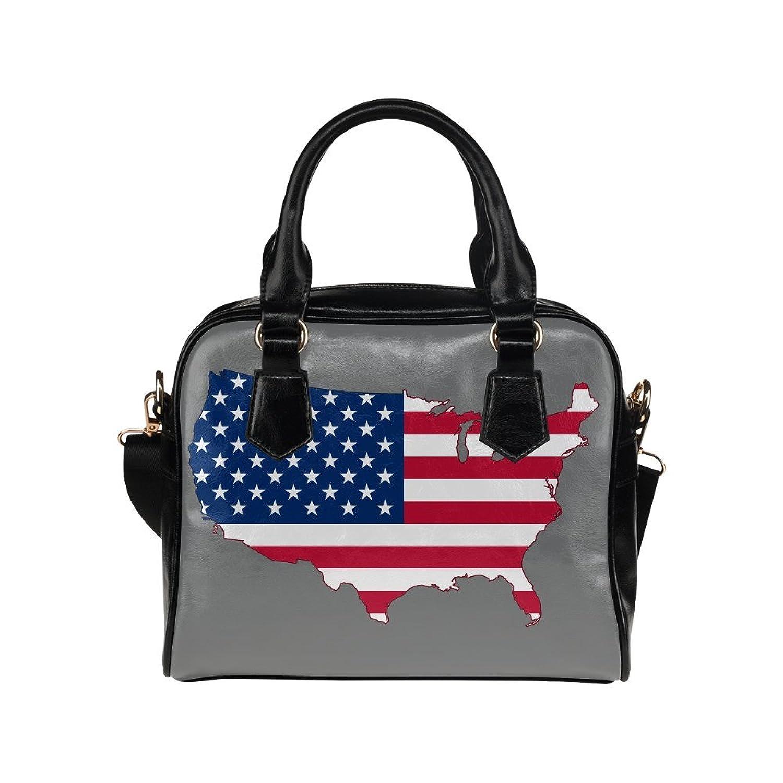 meincare Women's USA Flag Map PU leather Aslant Shoulder Tote Handbags
