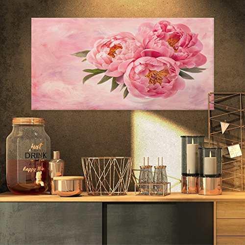 Design Art Peony Flowers in Vase on Pink Canvas Artwork Print, 32x16 ()