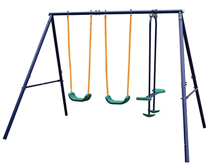 Amazon.com: Movement God Metal A-Frame Four Seat Swing Set: Toys & Games