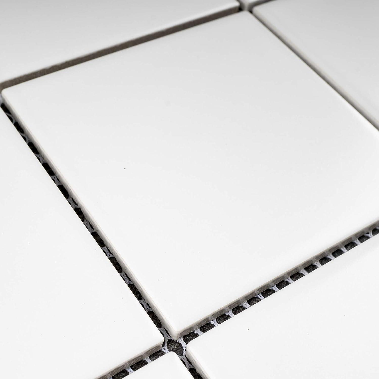 Matt Finish 1 Box 11 Sheets BT-PM9 4 x 4 Square White Porcelain Floor /& Wall Tile Mosaic Tile