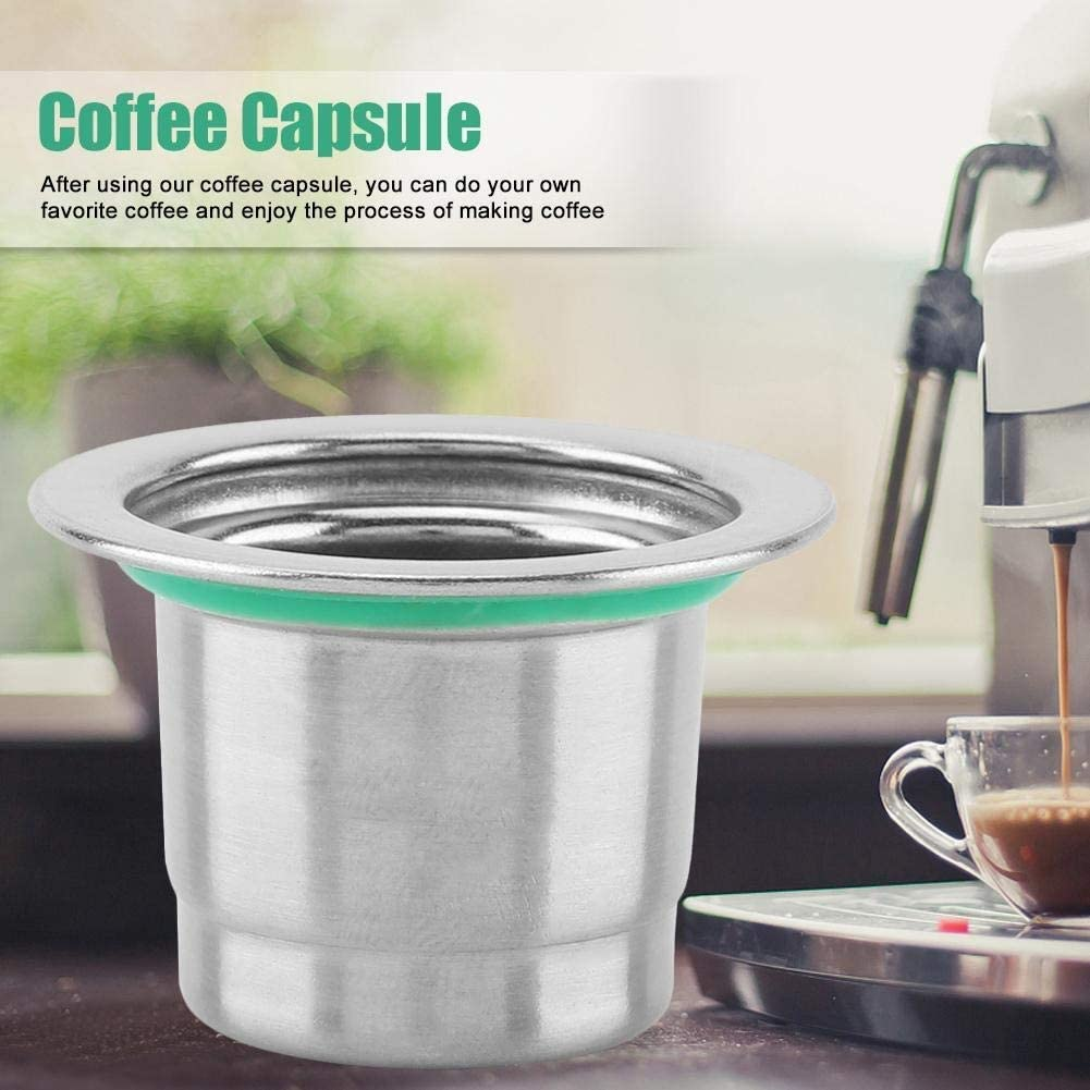 MAGT Caf/é C/ápsula Acero Inoxidable Reutilizable Recargable De Peso Ligero De Caf/é De La C/ápsula Compatible For Cafetera Nespresso