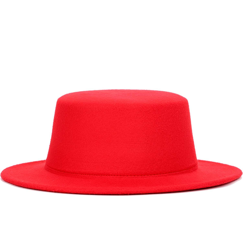 Mens Retro Fedora Autumn Winter Warm Hats Adjustable Unisex caps Flat-top Snake Belt Hat