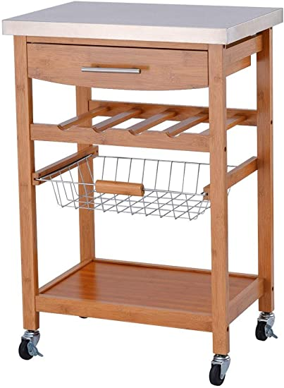 Amazon Com Heize Best Price Brown Bamboo Rolling Kitchen Island